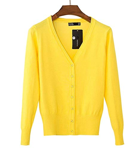 Fit Monocromo Giallo Size Top Maglie Vita Slim Grazioso Lana V Neck Autunno Primaverile Lunga Manica Color Di S Moda Confortevole Alta Donna Maglione Outwear Breasted Single R6xgdgn