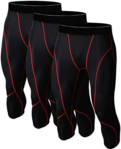 (1TO3PACKS Men's 3/4 Compression Tight Pants Base Under Layer Running Shorts Warm Cool Dry Football 3ABR_2XL)