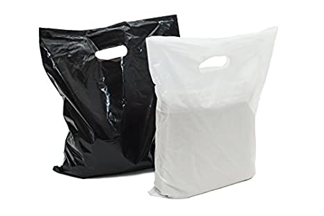 100 Grandes brillante blanco y negro plástico bolsas de ...