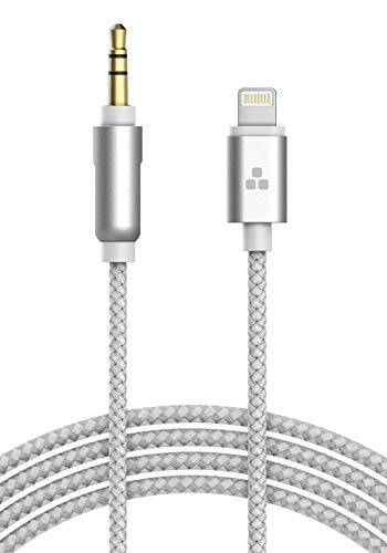 (Apple MFI Certified) iPhone Aux Lightning Cord to Male 3.5mm Auxiliary Cable (iPhone Audio Link to Car Jack, Headphones & Speakers) (Silver) ()
