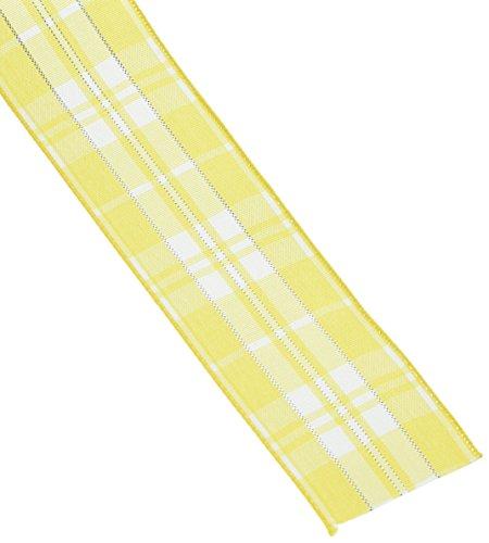 Yellow Ribbon Christmas (Homeford FHV000033546 10 yd Plaid Checkered Wired Christmas Ribbon, 1.5