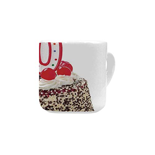 80th Birthday Decorations White Heart Shaped Mug,Birthday Party Cake with Cherries Sprinkles and Candles Image for Home,2.56