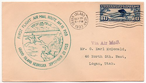 US Postal Cover 1933 Air Mail First Flight Route AM 18 P.O.D. 10 Cent US Airmail Postage Stamp Scott #C10 (Flight Airmail First Cover)