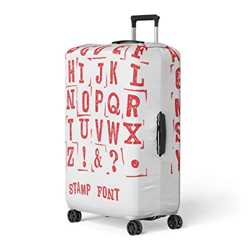 Pinbeam Luggage Cover Letterpress Stamp on Modern Letters Retro Alphabet Scratches Travel Suitcase Cover Protector Baggage Case Fits 26-28 inches Alphabet 28 Rubber Stamps