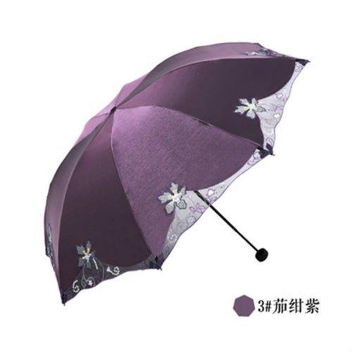 Purple Summer Uvioresistant Umbrella Embroiderwomens Parasol Folding Sun Umbrella Lace by Umbrella Compact