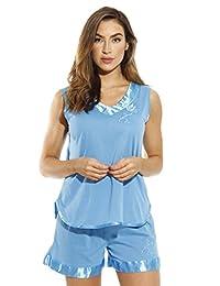 Dream Crest Pajama - Conjunto de Pantalones Cortos con trípode de satén y Bordado Floral