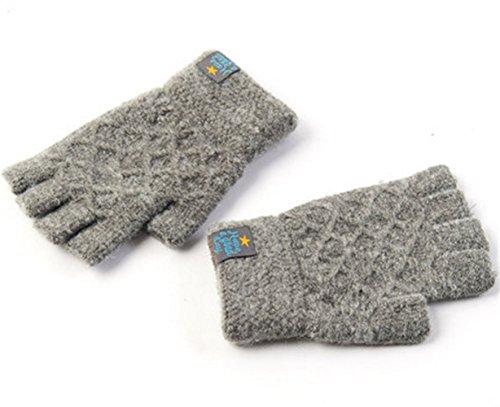 Youchan(ヨウチャン) レディース 手袋 グローブ 指ぬき ニット 防寒 シンプル 上品 プレゼント メンズ レディース 冬