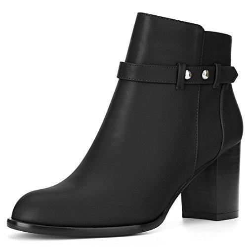 Allegra K Womens Round Toe Strap Decor Block High Heel Bootie Black N4bvaAj