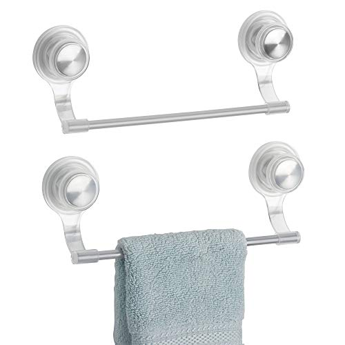 mDesign Suction Lock Wall Mounted Plastic and Metal Wash Cloth Hand Towel Bar for Bathroom Shower - Set of 2, Clear/Stainless Steel