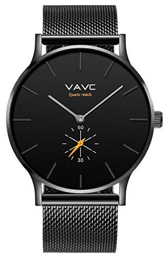 Slim Dress Watch (VAVC Men's Black Fashion Casual Simple Quartz Dress Wrist Watch with Black Stainless Steel Mesh Band)