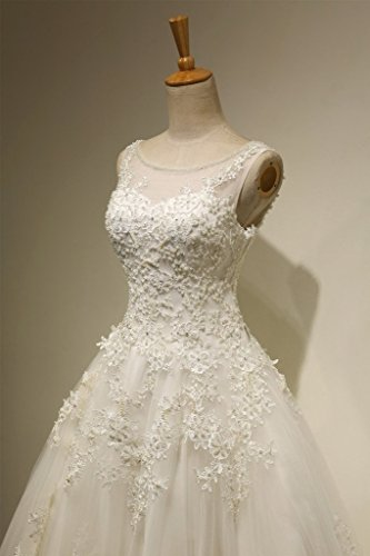 Gown Dress Bridal Women's Wedding LMBRIDAL Gown Lace Ball WBD10 Scoop Ivory Neck B YOwqWxzg