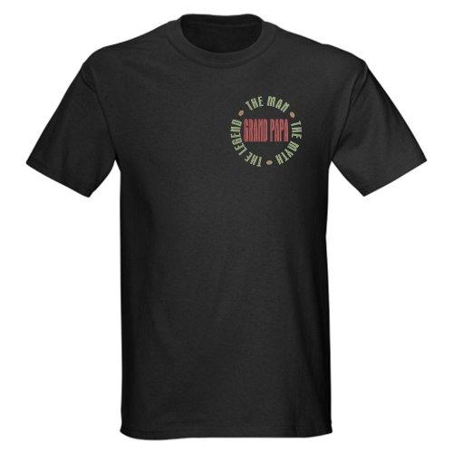CafePress Grand Papa Man Myth Legend Dark t-shirt Dark T-Shirt - L Black