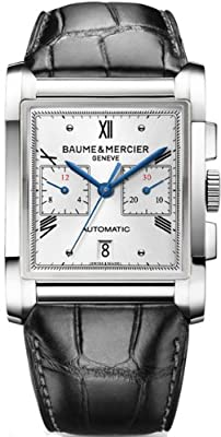 Baume and Mercier Hampton Milleis Silver Dial Alligator Leather Mens Watch 10032