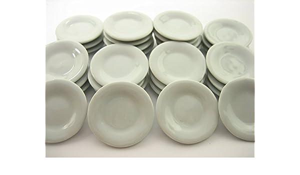 30 Mix Size White Flower Plates//Scalloped Plates Dollhouse Miniatures Ceramic