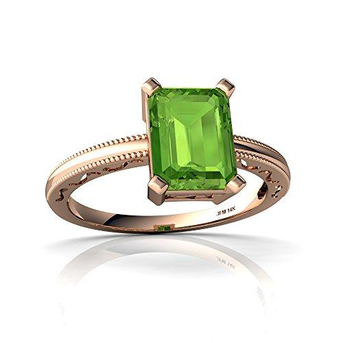 6x4 14kt Emerald Gold (14kt Rose Gold Peridot 8x6mm Emerald_Cut Milgrain Scroll Ring - Size 4)