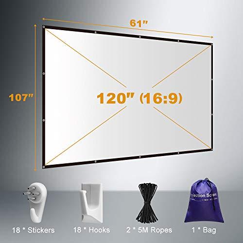Yome 120 Inch Projector Screen, 16:9 HD Anti-Crease Indoor Outdoor Foldable Portable Movie Screen Support Double Sided Projection for Home Office Travel Party, 4K, 3D, White Photo #2