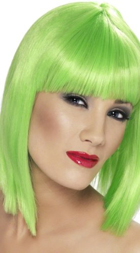 [Smiffy's Women's Neon Green Blunt Cut Wig With Fringe Neon Green One Size Fits Most] (Neon Green Wigs)