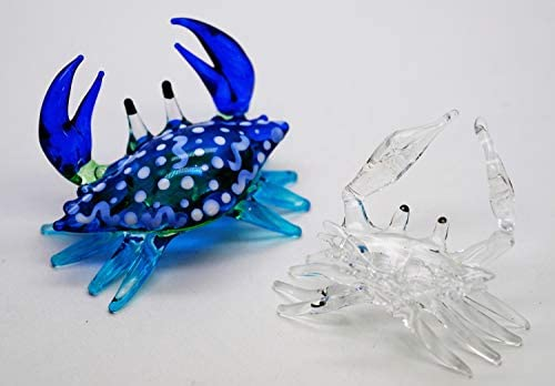 Blue Crab Fused Glass Hand Crafted Decorative Table