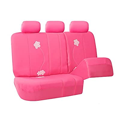 FH Group Universal Fit Full Set Floral Embroidery Design Car Seat Cover, (Pink) (FH-FB053115, Airbag compatible and Split Bench, Fit Most Car, Truck, Suv, or Van): Automotive