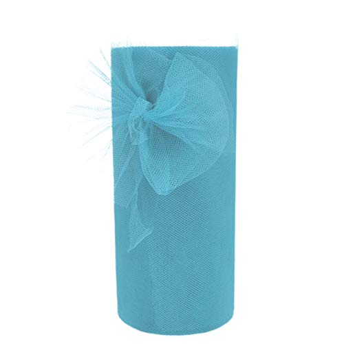 Tulle Roll Fabric Spool for Wedding Engagement Birthday Baby Shower Party High Chair Tutu Decorations (Light Blue)]()