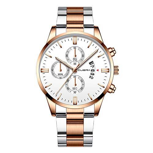 Dressin CUENA Men Fashion Military Stainless Steel Analog Date Sport Quartz Wrist Watch