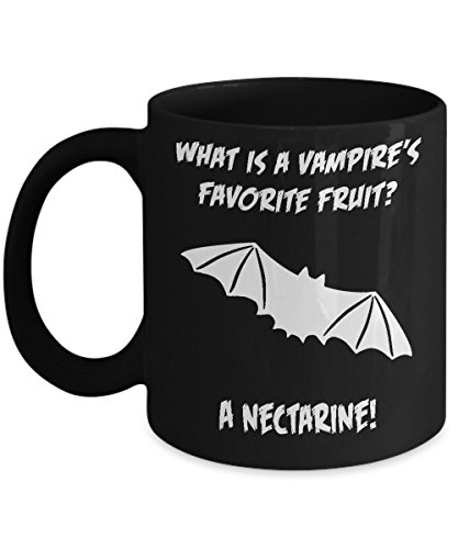 What Is A Vampire's Favorite Fruit? A Nectarine! Funny Halloween Bad Joke Black Acrylic Coffee Mug 11oz