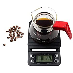 3kg Scale Coffee Scale with Timer 0.1g Precision Sensors,Teepao Diet Food Scale with g/oz/lb/ml Unit Conversion/Peeling,Mini Smart Digital Kitchen Drip Scale Black with LCD Blue Backlit