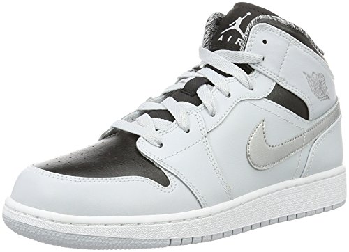 Jordan Air Jordan 1 Mid Youth US 6 Gray Basketball Shoe by Jordan