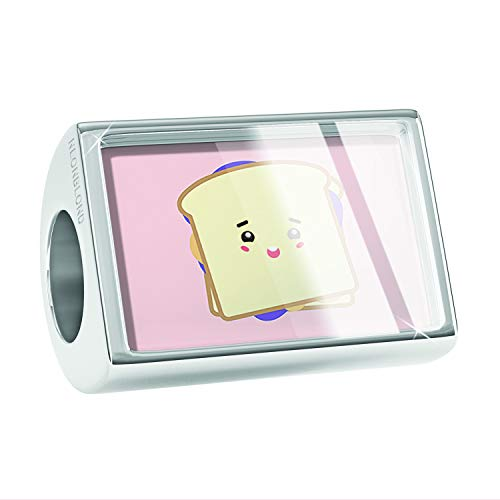 NEONBLOND Charm Peanut Butter and Jelly Sandwich Cute, Japanese Kawaii Food with Face Bead (Peanut Butter Jelly Necklace Best Friends)