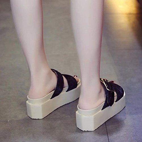 Colore Riso spesso spiaggia Tempo di moda Scarpe del tacco bianco libero estate Femmina 6 cm di LIXIONG Fondo moda Fondo 2 pantofole sabbiosa colori Altezza di Nero scarpa dimensioni pino torta xqOFnp