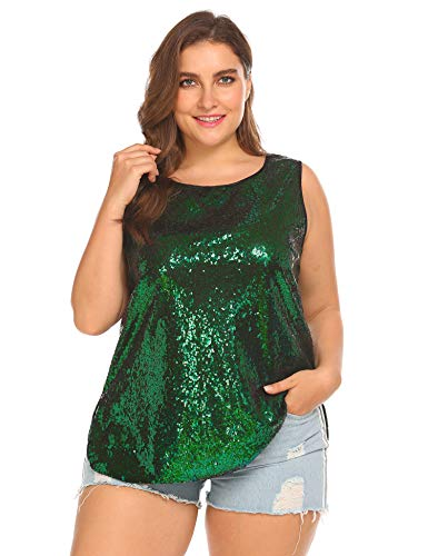(Womens Sequin Top Plus Size Tank Tops Sparkle Glitter Party Summer Sleeveless T Shirts Tunics Kelly Green)