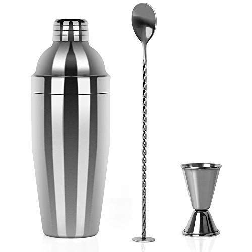 Restlandee Cocktail Shaker, Professional Stainless Steel Martini Shaker, 24 Ounces Shaker Bar Set Built withMeasuring Jigger and Mixing Spoon, Measuring Jigger, Best Bar Ware,Sleek Drinking Shaker