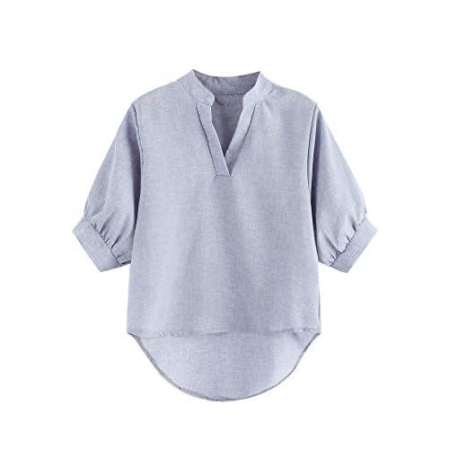 571d81e63447d9 Romwe Women's Lantern Half Sleeve V Neck Casual Tee Shirts Blouse Tops  delicate