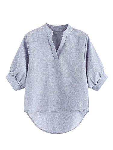 Romwe Women's Lantern Half Sleeve V Neck Casual Tee Shirts Blouse Tops Blue Large - Lantern Sleeve V-neck Top