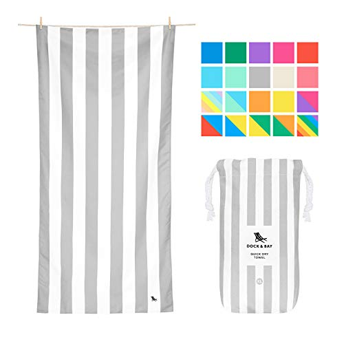 Dock & Bay Microfibre Beach Towel Backpacking Gear - Goa Grey, Extra Large (200x90cm, 78x35)- Swim, Pool, Yoga, Traveling