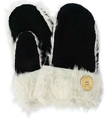 シェアプラスチック郡イチーナ 【婦人用手袋】 ミトン フェイクスエード ブラック (22cm) 4872