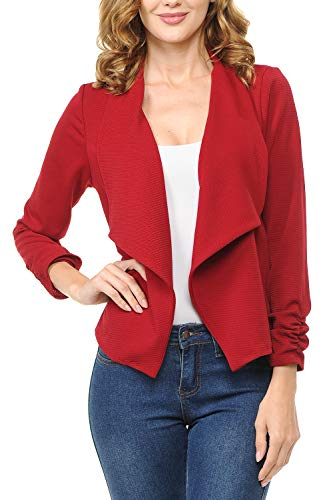 MINEFREE Women's Long Gathered Sleeve Open Front Lightweight Blazer Ruby - Ruby Blazer Red