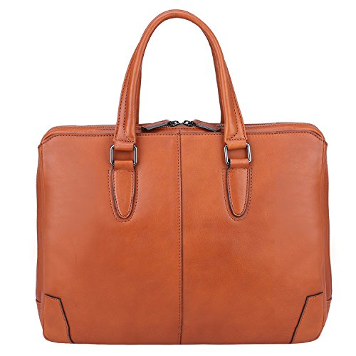 """Banuce Italian Leather Briefcase for Men and Women Business Travel Work Tote Bag Attach Case U-zip 14"""" Laptop Organizer by Banuce (Image #2)"""