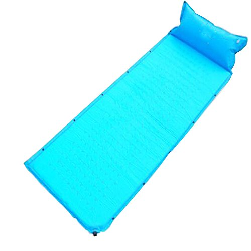 Meanhoo Outdoor automatic inflatable pad with pillow Camping Sleeping Picnic Mattress Sleeper Pad Self Inflating widened and thickened Blue Sky - Silverton Four Light