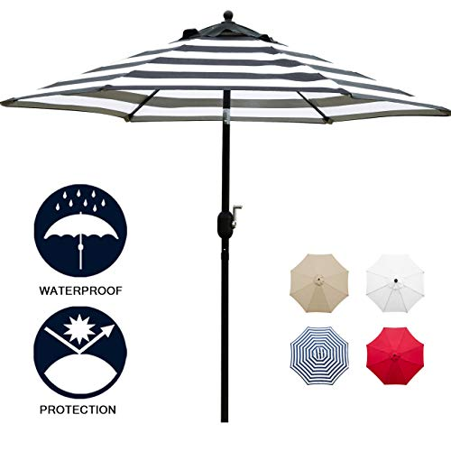 Black Patio Table - Sunnyglade 7.5' Patio Umbrella Outdoor Table Market Umbrella with Push Button Tilt/Crank, 6 Ribs (Black and White)
