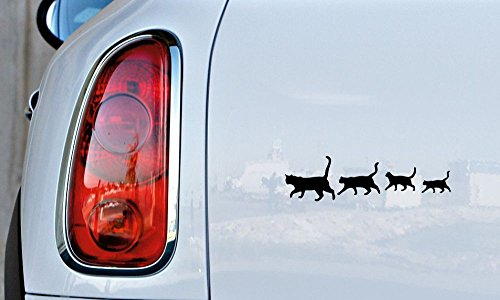 Cats Family Silhouette Version 2 Car Vinyl Sticker Decal Bumper Sticker for Auto Cars Trucks Windshield Custom Walls Windows Ipad Macbook Laptop and More Black -