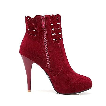 HSXZ Zapatos de mujer moda otoño invierno polar botas botas Stiletto talón Round Toe botines/botines botas Mid-Calf para vestidos\Noche: Amazon.es: Deportes ...