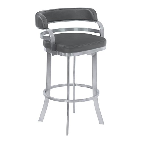 "Armen Living LCPRBAGRBS26 Prinz 26"" Counter Height Swivel Barstool in Grey Faux Leather and Brushed Stainless Steel Finish"