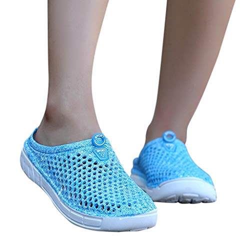 HYIRI Women's Ladies Beach Femme Harajuku Sandals Elastic Hollow Out Casual Breathable Slippers Flats Shoes Sky Blue