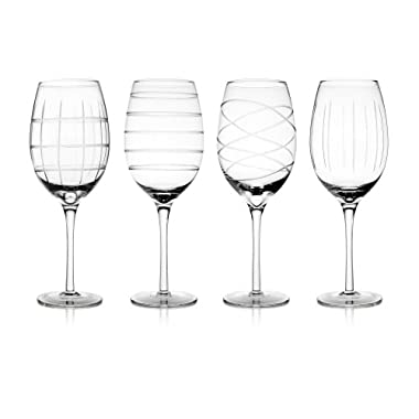 Fifth Avenue Crystal Medallion White Wine Goblets, Set of 4