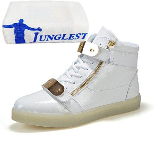(Present:kleines Handtuch)JUNGLEST® 7 Farbe LED Leuchtend Aufladen USB Erwachsene Paare Schuhe Herbst und Winter Sport schuhe Freizeitschuhe Leucht la Weiß
