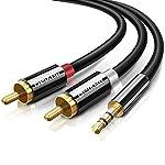 Beikell-Cavo-RCA-Jack-Adattatore-2M-35mm-a-2RCA-Adattatore-Cavo-Audio-AUX-Stereo-per-Stereo-Receiver-Amplificatore-TV-Proiettore-Radio-e-Altri-Dispositivi-Dotati-di-RCA-Connettori-Nero