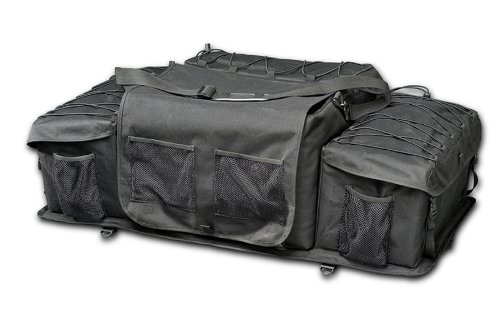 Raider ATV Rear Deluxe Rack Storage Gear Bag 600-Denier Polyester (Black) - Rear Black Rack Bag