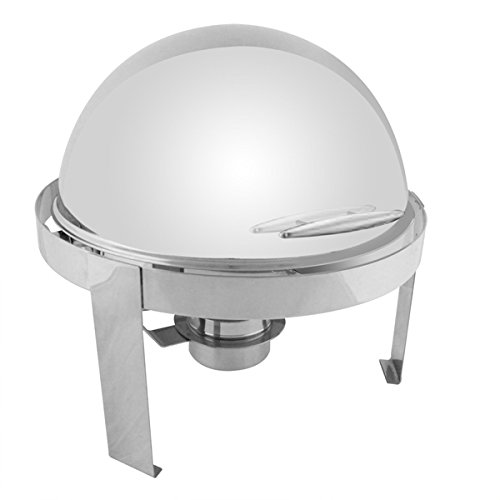 6 QUART ROUND ROLL TOP CHAFER - STAINLESS STEEL HANDLE - SWIVELS OPEN