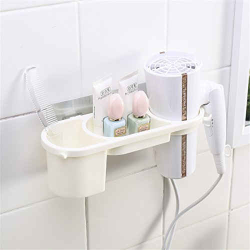 Almacenamiento ventosa de pared secador de pelo accesorio de cepillo para polvo para polvo de dientes cosméticos Champú...